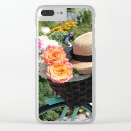 Roses, Straw Hat and Bicycle Clear iPhone Case