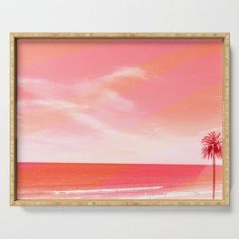 pink beach california Serving Tray