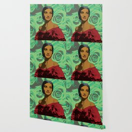 Maria Callas in Aqua Green Wallpaper