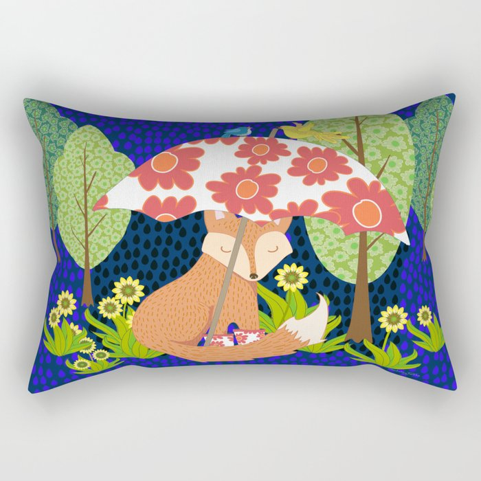 Fox in Galoshes at Night Rectangular Pillow