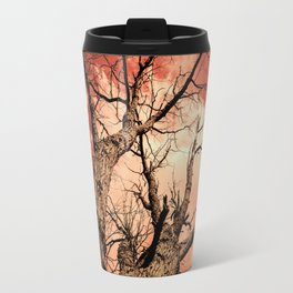 The Reaching Red Branch Tree Art in Nature Modern Forest Abstract Travel Mug