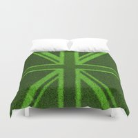 british flag Duvet Covers featuring Grass Britain / 3D render of British flag grown from grass by GrandeDuc