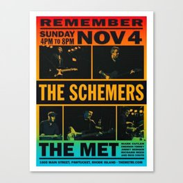 Vintage The Schemers at the Met, Rhode Island Concert Poster Canvas Print