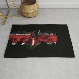 Kenya Smoke Flag on Black Background, Kenya flag Rug