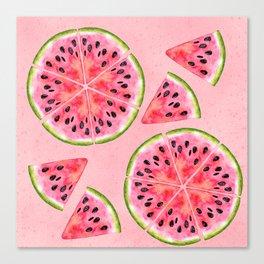 pink watermelon pattern Canvas Print