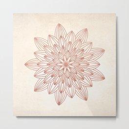 Mandala Blossom Rose Gold on Cream Metal Print