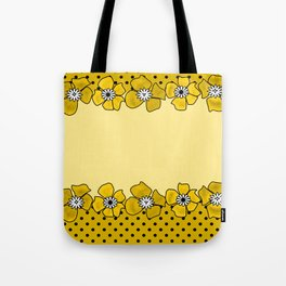 Yellow floral pattern . Tote Bag