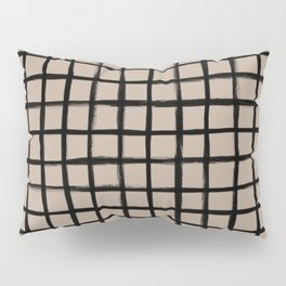 Strokes Grid - Black on Nude Pillow Sham