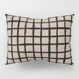 Strokes Grid - Black on Nude Pillow Sham