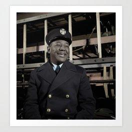 New York City Fireman c.1942 - Colourised Art Print