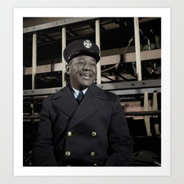 New York City Fireman c.1942 - Colourised Art Print