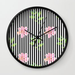 Geometrical black white stripes pink floral Wall Clock