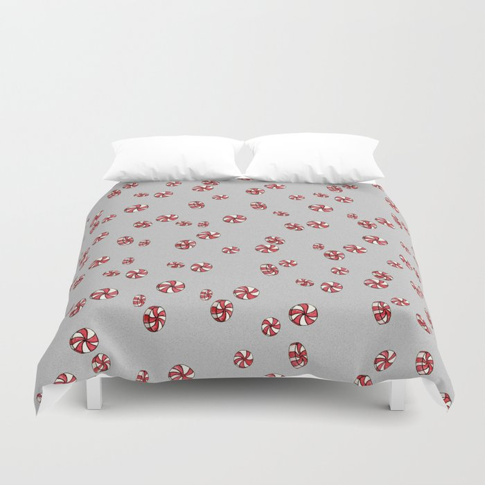 Peppermint Candy in Grey Duvet Cover