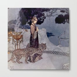 """""""Circe With Leopards"""" by Edmund Dulac Metal Print"""