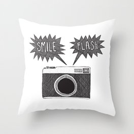 doodle old style camera Throw Pillow