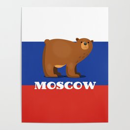Moscow Bear and flag travel poster. Poster