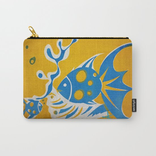 Screenprint Gold and Fish Carry-All Pouch