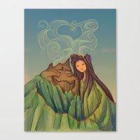 hallion Canvas Prints featuring Volcano Love by Karen Hallion Illustrations