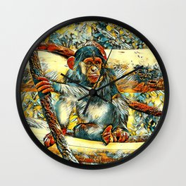 AnimalArt_Chimpanzee_20170905_by_JAMColorsSpecial Wall Clock