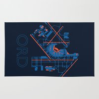 60s Area & Throw Rugs featuring O'Hare (ORD) - 60s by Kyle Rodgers
