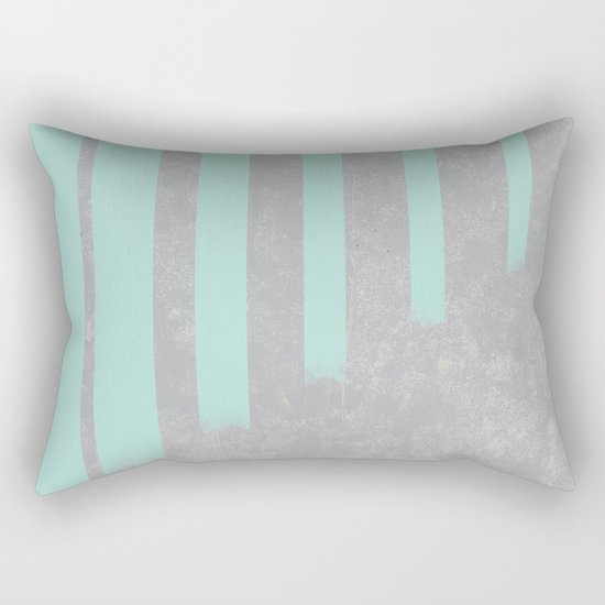 Soft cyan stripes on concrete Rectangular Pillow