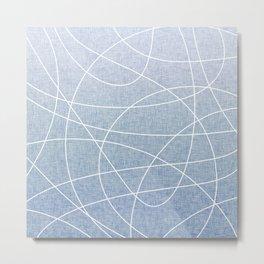 Scribble Linen - Denim Metal Print