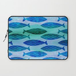 Blue Turquoise Green Watercolor Fish Pattern Laptop Sleeve