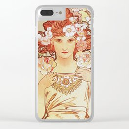 Rose by Alphonse Mucha 1897 // Vintage Girl with Red Hair Floral Love Design Clear iPhone Case
