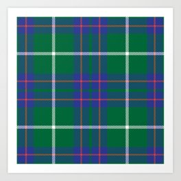 Classic Christmas Blue and Green Plaid Tartan Pattern Art Print