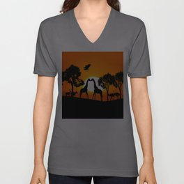 Giraffe silhouettes at sunset Unisex V-Neck