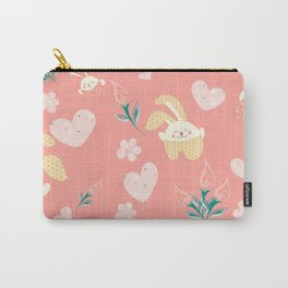 Easter Rag Bunny - heart, tulip and pink kids Carry-All Pouch