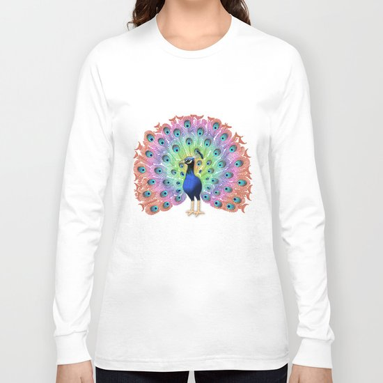 Colorful Peacock Long Sleeve T-shirt
