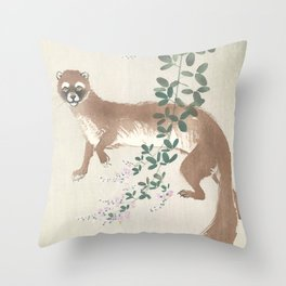 Weasel and the flowers - Vintage Japanese Woodblock Print Art Throw Pillow