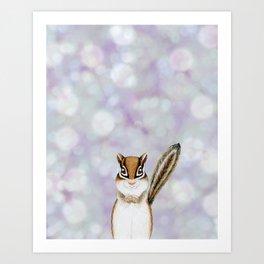 chipmunk woodland animal portrait Art Print
