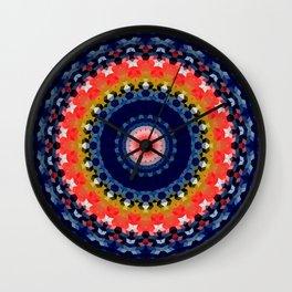 Multi-colored mandala, kaleidoscope, blue mandala Wall Clock