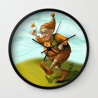 gnome Wall Clocks featuring Gnome by Olga Shefranov