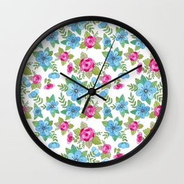 Blue Lilly Watercolor Wall Clock