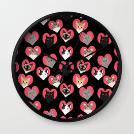 Cat faces love hearts valentines day gifts for cat lovers must have cats Wall Clock