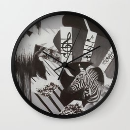 Black and White Painted Collage Wall Clock
