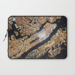New York City, Map in Gold Laptop Sleeve
