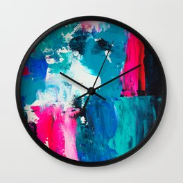 Look on the bright side | neon pink blue brushstrokes abstract acrylic painting Wall Clock