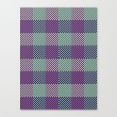 Pixel Plaid - Dark Seas Canvas Print