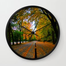 Fall road Wall Clock