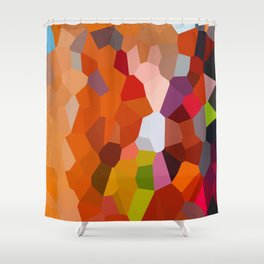 Pixelated Lanterns in Joy and Orange Shower Curtain
