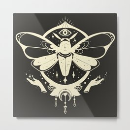 Esoteric Moth Insect Witch Design Metal Print