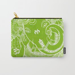 Ganesha Lineart White/Green Carry-All Pouch