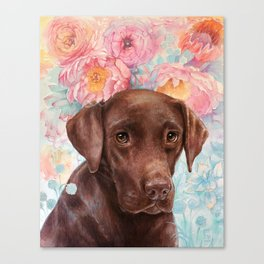 Flowers and Chocolate (chocolate lab dog watercolor portrait painting) Canvas Print