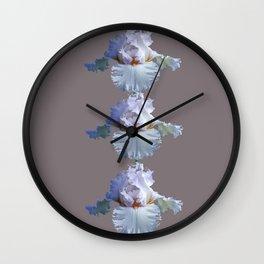 SNOW WHITE SPRING IRIS  GREY MONTAGE Wall Clock