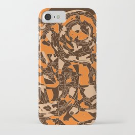 Orange and brown geometric abstraction iPhone Case