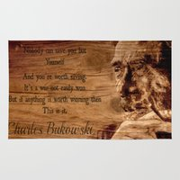 bukowski Area & Throw Rugs featuring Charles Bukowski - wood - quote by ARTito